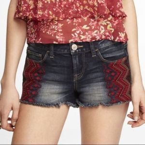 EXPRESS Embroidered Aztec Raw Hem Shorts Size 00